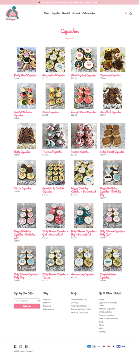 Candy's Cupcakes internal page
