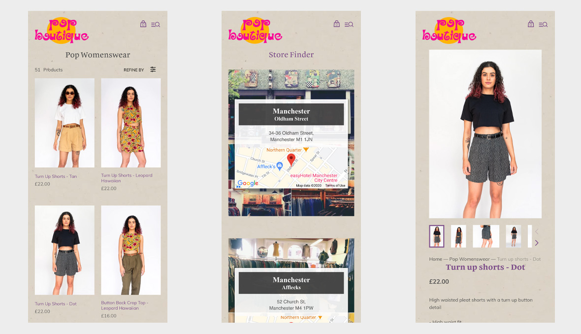 Pop Boutique on mobile