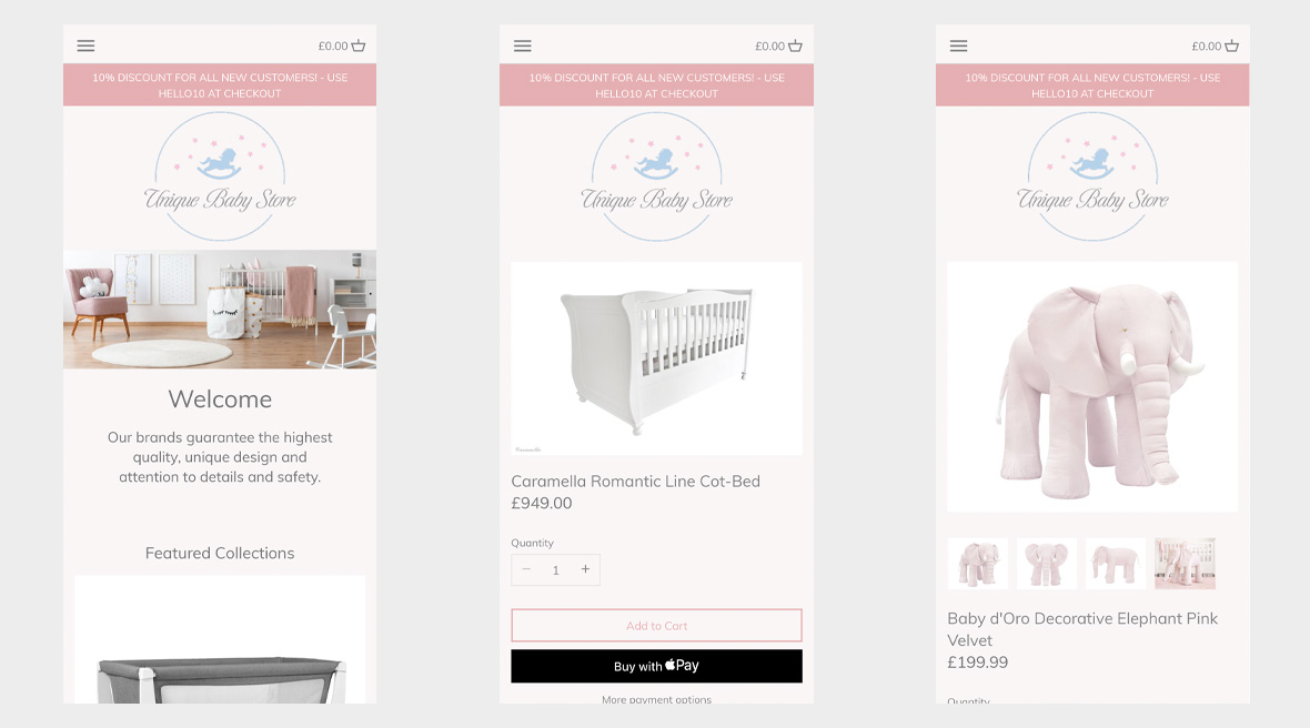 Unique Baby Store on mobile